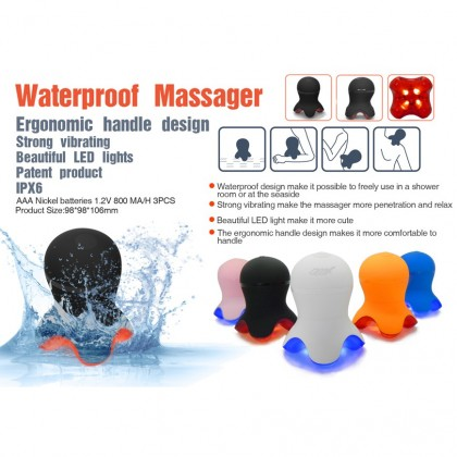 Oreadex Octopus Travel Massager Waterproof Strong Vibration Light Therapy for Neck Shoulder Body Hand Massage