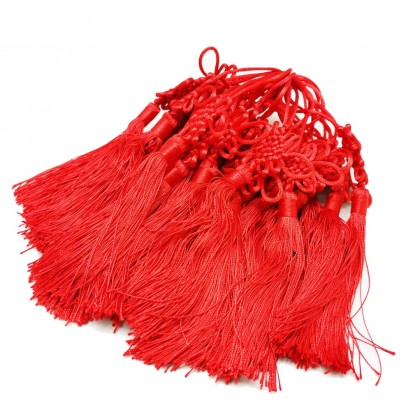 Handmade Red Chinese knots Trim Tassels Silk Fringe Tassels for Sewing Curtain Festival Home Decoration Bookmark Key Accessories DIY