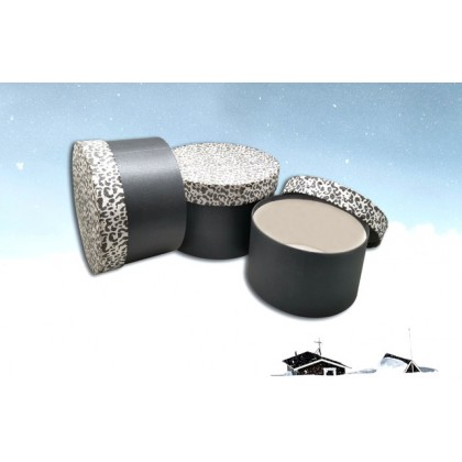 (Clearance Stock) 3 in 1 Zebra Black White Round Shape Gift Box