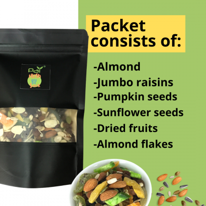 [Fresh off the Snack] Nut Trail Mix 120g with Flower Tea Combo Deal  - Premium Almond Pumpkin Sunflower Seeds Dried Fruit Raisin Mix / 15g Rose Flower Tea / No MSG / No Preservative / Roast Daily / Delicious / Freshness Guaranteed / Healthy Snack 120G