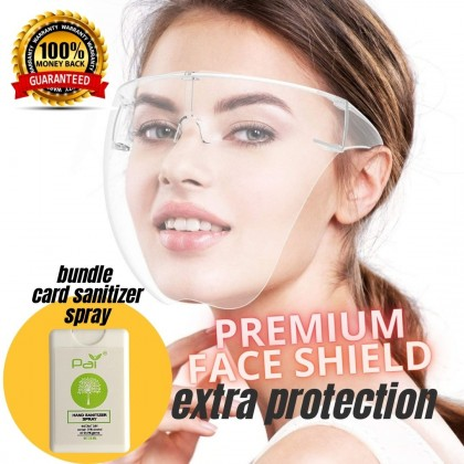 [Bundle Deal] Acrylic Full Face Shield with Card Sanitizer Set / Transparent Face Cover Clear Lens Large Visor Wrap Shield Extra Protection -Outdoor Travel Cycling Protective Glasses Eyewear (Transparent)